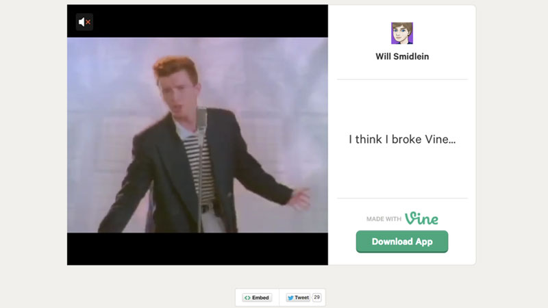 Vine promises to never give you up, never let you down