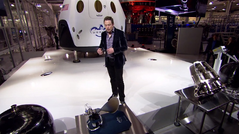 SpaceX unveils first manned spacecraft, looking ahead to Mars taxi