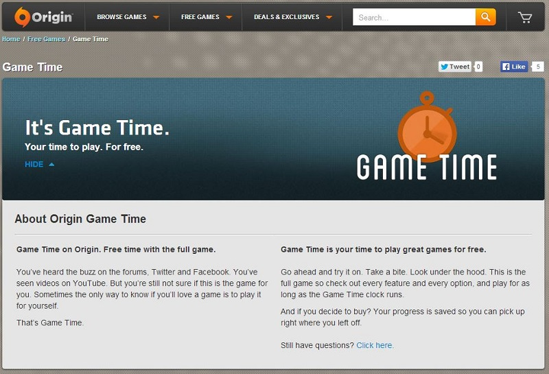 EA's Game Time allows gamers to try select games for free