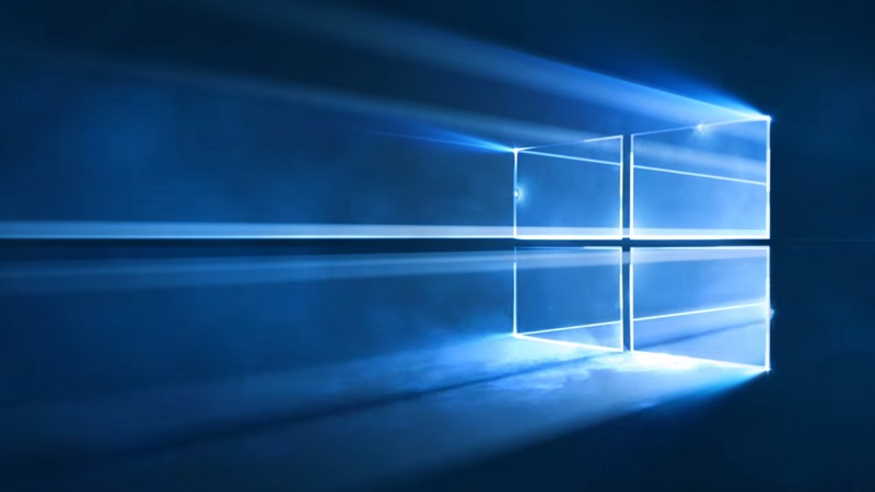 Windows 10's default wallpaper shown off, made of light ...