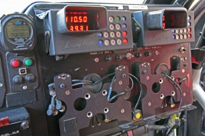 The co-driver's view, with mounting spots for the Dakar-specific tracking equipment.