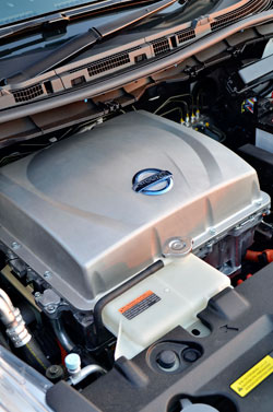 The power unit for the Leaf - an electric motor that's as powerful as a 1.6-litre turbo diesel engine, with even more torque.