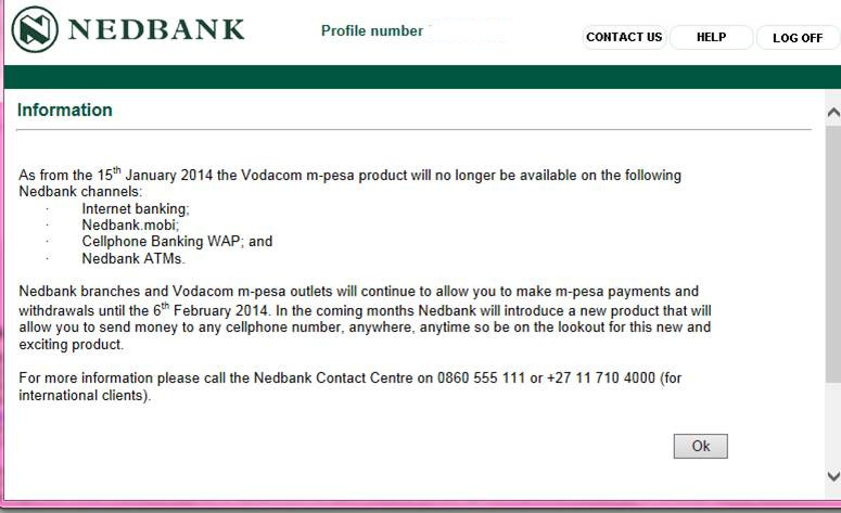 The Nedbank popup greeting customers today.