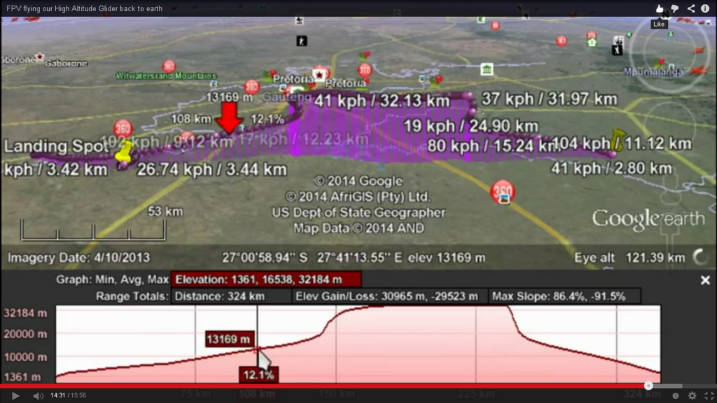 Flight data recorded and mapped.