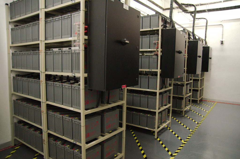 Banks of batteries give the building 20 minutes of backup power before the diesel generators kick in.