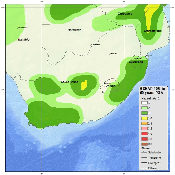 A Seismic hazard map of South Africa
