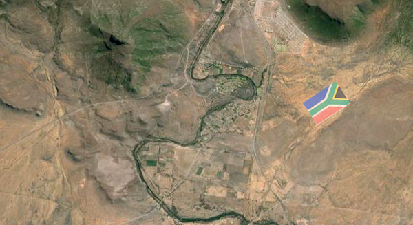 A visualised satelite image of what the Giant Flag will look like near the town of Graff-Reinet