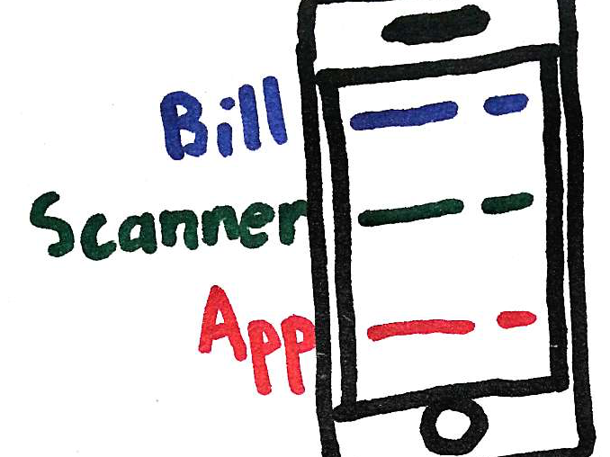 An early draft of the BillScannerApp logo.