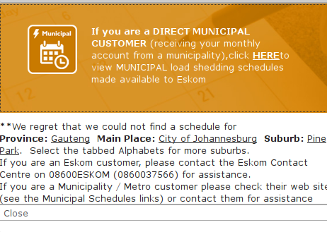 Not often you wish you /were/ with Eskom, huh?