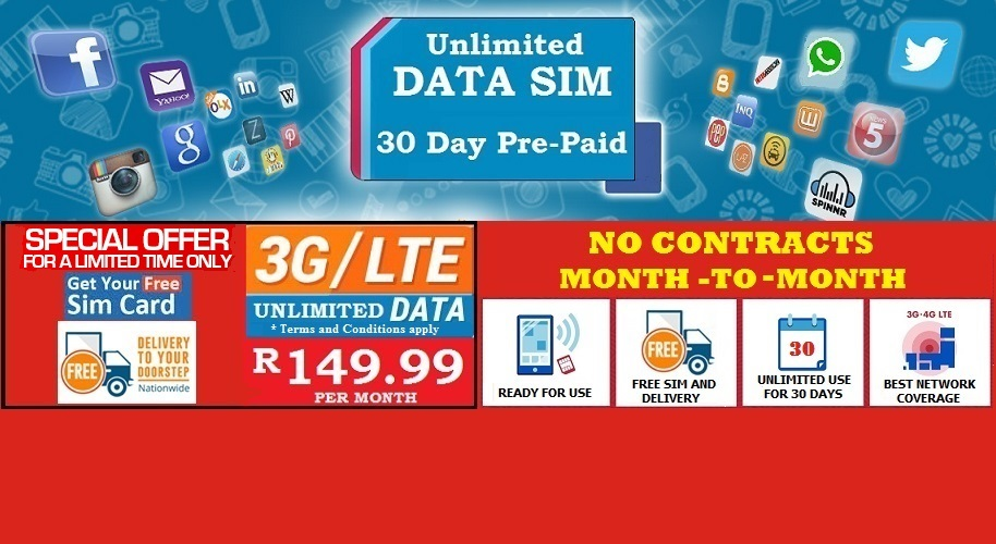 Unlimited Mobile Data For R149 From Data Sim Htxt Africa