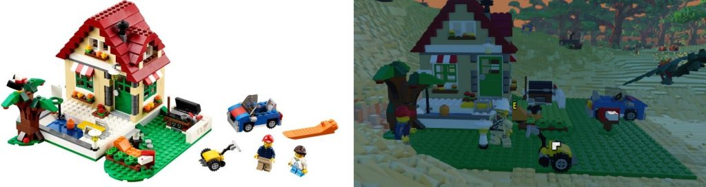 The real set on the left and its in game representation on the right