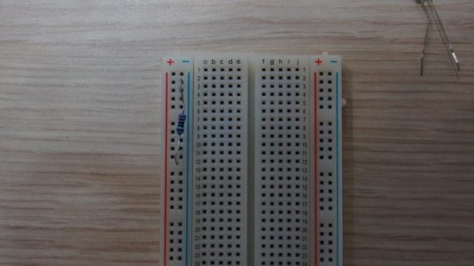 Make sure to leave an input open at the top of the breadboard for a jumper.