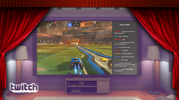 Rocket League, being streamed on Twitch, inside of Oculus Video.