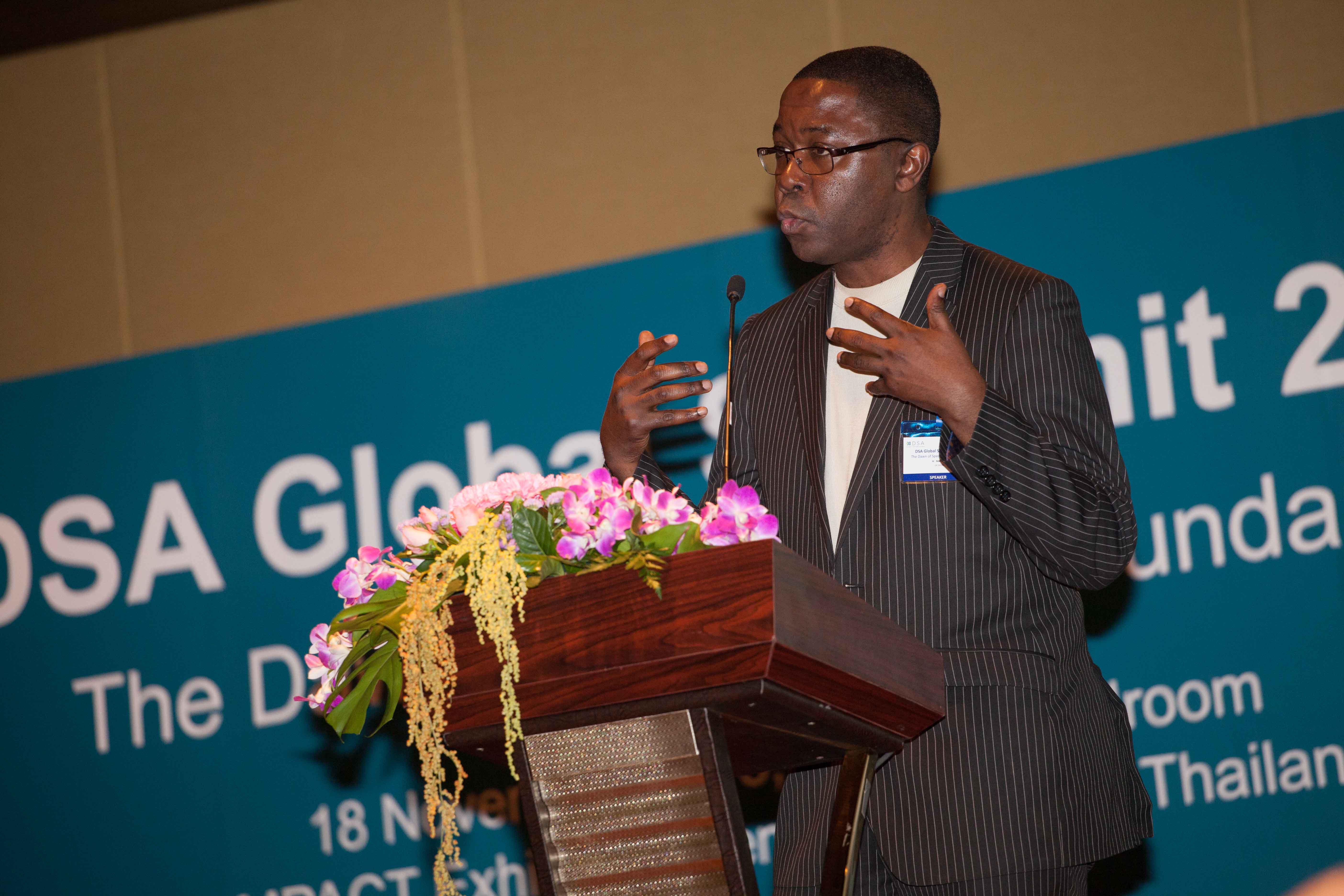 H Nwana speaking in favour of TVWS and the DSA at an industry event in Thailand.