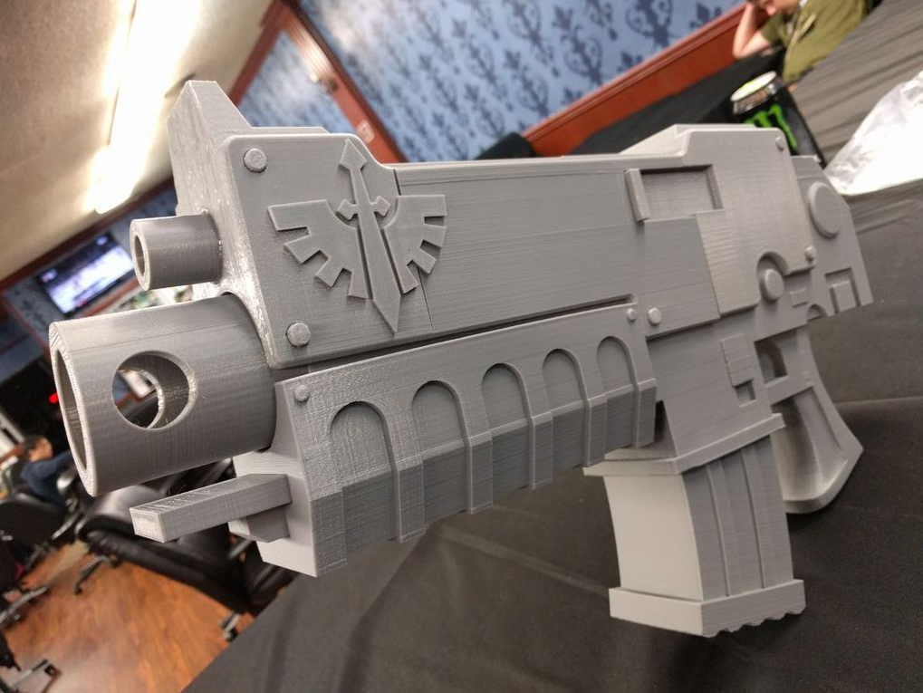 Fit for any space marine: giant 3D printed bolter from
