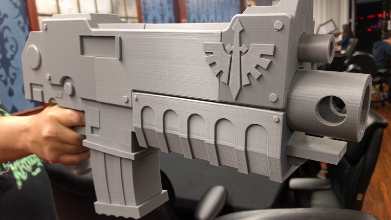 Fit for any space marine: giant 3D printed bolter from Warhammer 40K