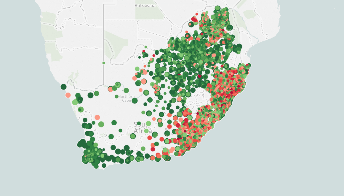 Every South African public school's 2015 matric passrate, mapped