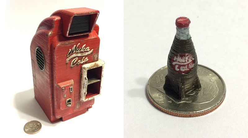 nuka cola vending machine from fallout 3d printed at a tiny scale
