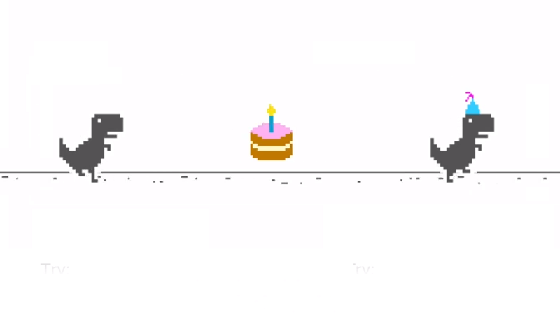 Google Chrome S Offline Dinosaur Game Has A 10th Birthday Easter Egg