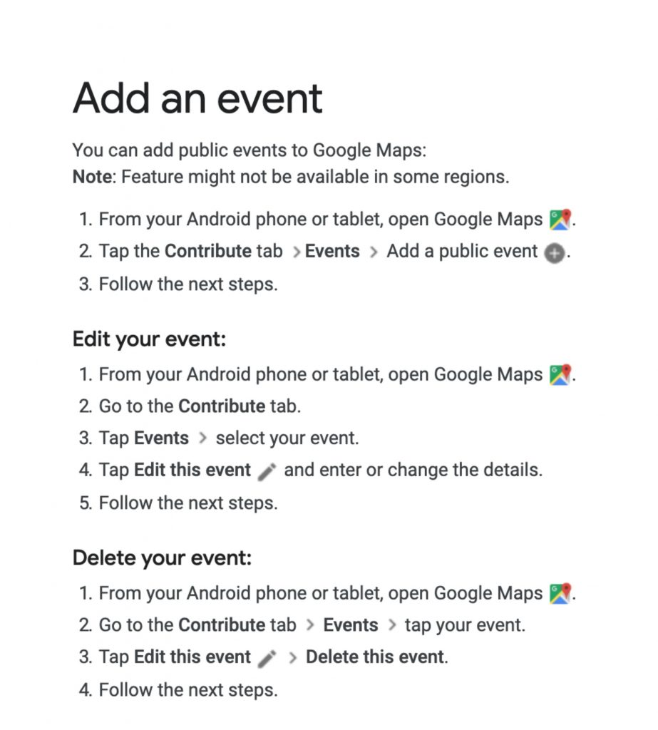 Google Maps testing out feature to add public events - htxt