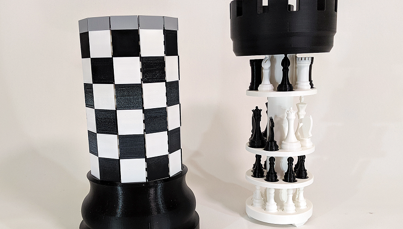 This 3d Printed Chess Set Folds Up Into A Giant Rook For