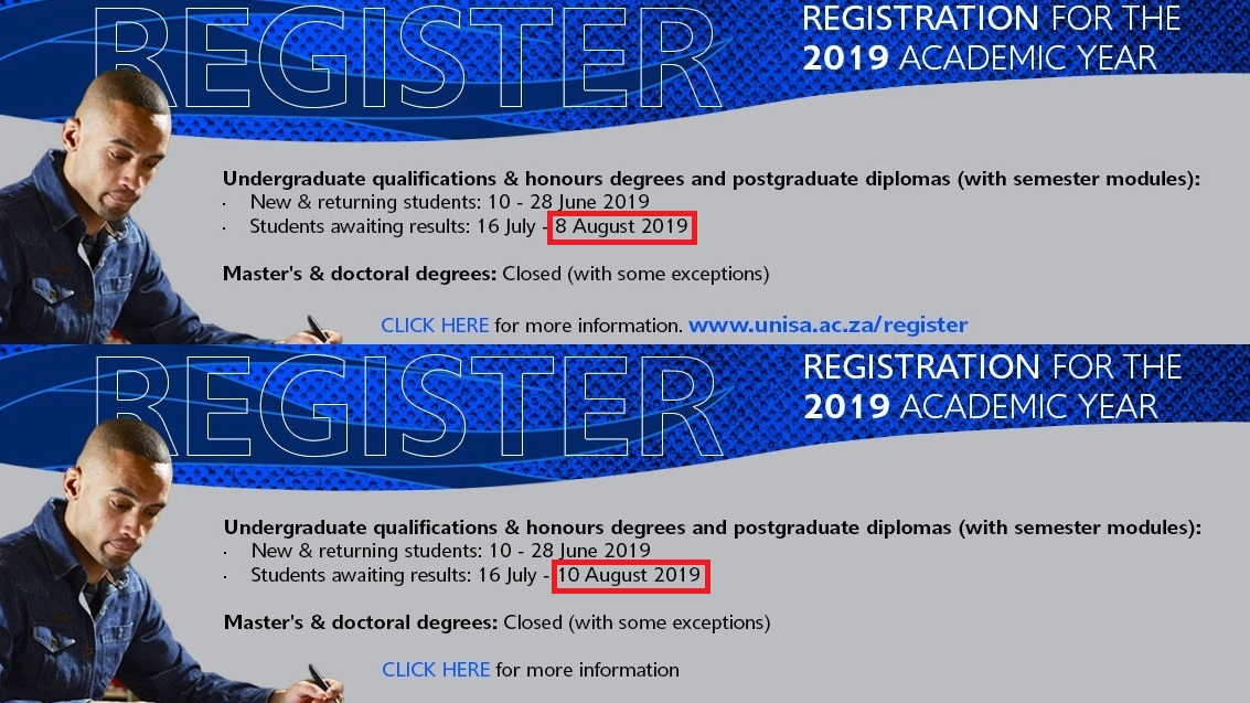 Unisa pushes 2019 semester 2 registration back to 10th August - htxt